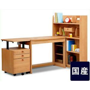 学習机 組み換え 木製エコ塗装学習デスク100cm幅セット (デスク+書棚+ワゴン) アクシス ユニットデスク|kagu