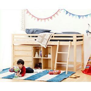国産ひのきのシステムベッド 4点セット (ベッド + はしご + チェスト + シェルフ) 収納ベッド/ロフトベッド|kagu