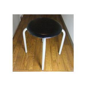 丸椅子 太いパイプ 8脚入(黒)|kaguch