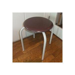 丸椅子 太いパイプ 8脚入(茶)|kaguch