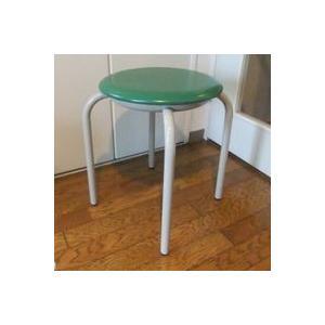 丸椅子 太いパイプ 8脚入(緑)|kaguch