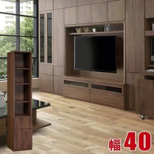 完成品 日本製 贅沢な空間が創れる高級天然ウォールナット無垢材の壁面収納 ガイア 幅40cm