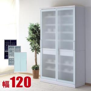 完成品 日本製 ガラススライドドアの超大容量キッチンストッカー スッキリ 幅120cm|kagucoco