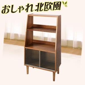 ノルディック シェルフ 幅64 本棚 書棚 オープンラック ガラス扉 ウォールナット突板 約幅65cm|kagudoki
