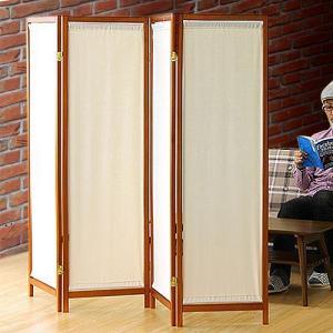 木製スクリーン(帆布)4連 4面 4連 帆布 パーテーション おしゃれ アンティーク 衝立 間仕切り パーティション オフィス スクリーン|kagudoki