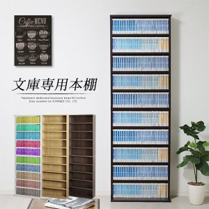 本棚 文庫本 専用 大容量 薄型 幅60cm 高さ185.5...