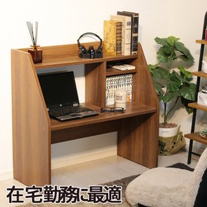 ローデスク 棚付き パソコンデスク 幅80 (83cm)の写真