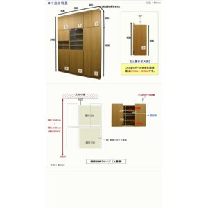 壁面収納 幅60 奥行24.5 高さ55(扉の高さ60) Dタイプ リビング収納 キッチン収納 本収納 AV収納 壁面収納 つっぱり|kagufactory|06