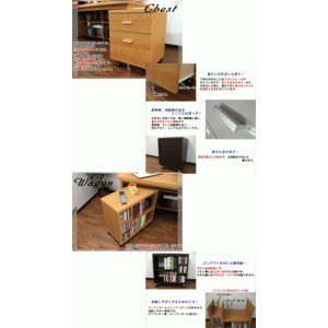 パソコンデスク ハイタイプ 幅150cm 奥行74cm 木製 3点セット(机/チェスト/ワゴン)|kagufactory|04