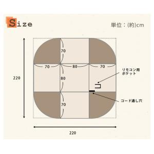 こたつ4点セット ダイニングこたつ 正方形 コタツ こたつ布団 回転イス ハイタイプ 80×80|kaguhonpo|18