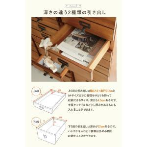 書類チェスト 9杯 レトロ アンティーク 木製 キャスター A4 小物入れ ナチュラル シンプル  可愛い 完成品 tree  kaguhonpo 05