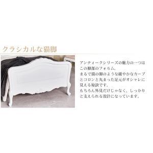 アンティーク家具 アンティーク風 ベッド セミダブル フレーム セミダブルベッド 白 ヘッド布張り グレイスホワイト|kaguhonpo|05