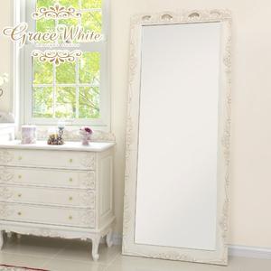 アンティーク風 ミラー 鏡 全身 姿見鏡 おしゃれ 白 グレイスホワイト 猫脚 ワイドミラー|kaguhonpo