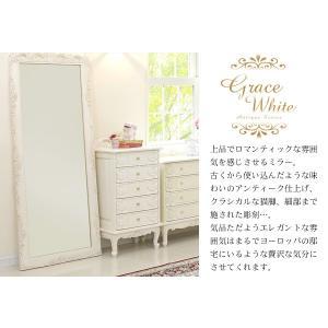 アンティーク風 ミラー 鏡 全身 姿見鏡 おしゃれ 白 グレイスホワイト 猫脚 ワイドミラー kaguhonpo 02