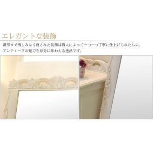 アンティーク風 ミラー 鏡 全身 姿見鏡 おしゃれ 白 グレイスホワイト 猫脚 ワイドミラー kaguhonpo 03