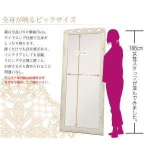アンティーク風 ミラー 鏡 全身 姿見鏡 おしゃれ 白 グレイスホワイト 猫脚 ワイドミラー kaguhonpo 04