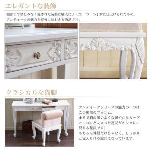 コンソールテーブル セット アンティーク 白 デスク 机  おしゃれ 白 グレイスホワイト 猫脚コンソールテーブル&チェアセット|kaguhonpo|02