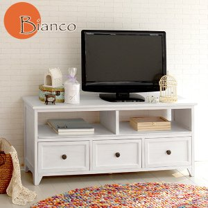 テレビ台 収納 おしゃれ ローボード 完成品 白 アンティーク調 幅94cm(Bianco)ビアンコ|kaguhonpo