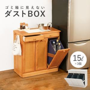 ダストボックス 分別 おしゃれ キッチン ごみ箱 分別 ゴミ箱 2分別ダストボックス 15L×3個|kaguhonpo
