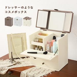 コスメボックス 大容量 三面鏡 メイクボックス 完成品 ドレッサー 可愛い コンパクト バニティ かわいい 白 鏡台 化粧台 プレゼント|kaguhonpo