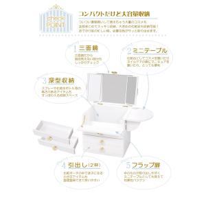 コスメボックス メイクボックス クリスタル 大容量 鏡付き 木製 バニティ 可愛い 姫系 持ち運び 三面鏡 引き出し 深 サイドテーブル 白 ピンク kaguhonpo 04