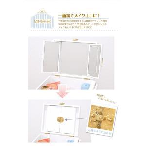 コスメボックス メイクボックス クリスタル 大容量 鏡付き 木製 バニティ 可愛い 姫系 持ち運び 三面鏡 引き出し 深 サイドテーブル 白 ピンク kaguhonpo 06