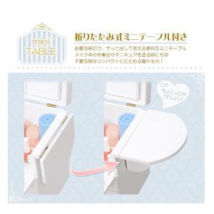 コスメボックス メイクボックス クリスタル 大容量 鏡付き 木製 バニティ 可愛い 姫系 持ち運び 三面鏡 引き出し 深 サイドテーブル 白 ピンク kaguhonpo 07