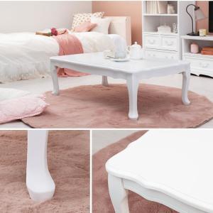 ローテーブル 折りたたみテーブル 猫脚 長方形 幅80cm(白 おしゃれ)|kaguhonpo|03
