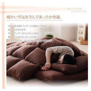寝具セット シングル 全9色 羊毛混ボリューム敷布団×羽根布団8点セット 省スペースタイプ|kaguhonpo|03