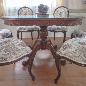 マホガニー猫脚丸形テーブル:100cm(花柄)(天板ガラスサービス)(送料無料)|kagukomu