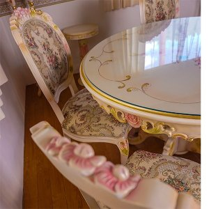 無垢材ロココ調丸形ダイニングテーブル100【トップガラスサービス】 オープン記念|kagukomu