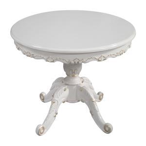 マホガニー猫脚丸形テーブル:アイボリーゴールド:100cm(天板ガラスサービス)【送料無料】|kagukomu