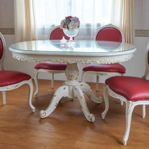 マホガニー猫脚楕円テーブル:アイボリーゴールド:135(天板ガラスサービス)【送料無料】|kagukomu