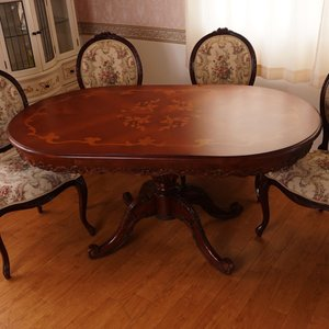 マホガニー猫脚楕円形テーブル:花柄150*90cm(天板ガラスサービス)|kagukomu