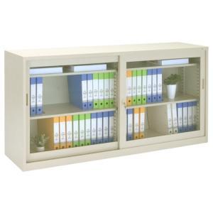 ガラス63引違い書庫 W1760×D400×H880 スチール書庫 オフィス書棚 代引不可 866411 法人宛限定|kagukuro|02