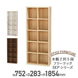 A4サイズのファイルボックスが収納でき、本棚やインテリア雑貨を飾るのにも最適な、2列5段フリーラック...