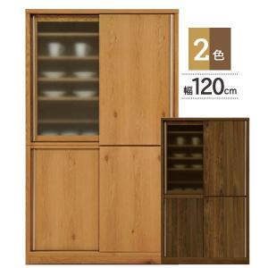 日本製 木製 引き戸 食器棚 120cm幅 ダイニングボード SALT ソルト ホワイトオーク ウォールナット 開梱組立設置 送料無料  KKS 河口家具|kagunoconcierge