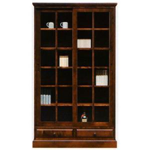 本棚 書棚 民芸家具 引き戸 105cm幅 「樹氷」 開梱設置|kagunoconcierge