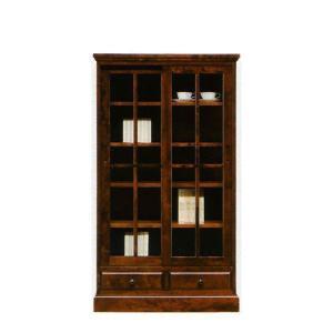 本棚 書棚 民芸家具 引き戸 ロータイプ 完成品 85cm幅 「樹氷」 開梱設置|kagunoconcierge