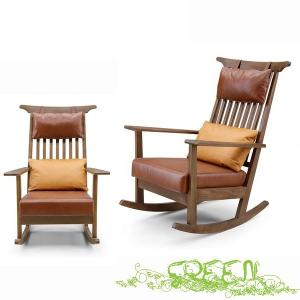 GREEN ROSEMARY ROCKING CHAIR R-011 革張り 揺れ椅子 セラウッド塗装 ロッキングチェアの写真