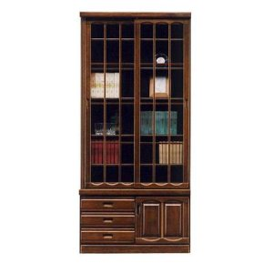 完成品の90cm幅引き戸書棚です。  材質:ケバンス材 ウレタン塗装 ガラス  SIZE:幅89cm...