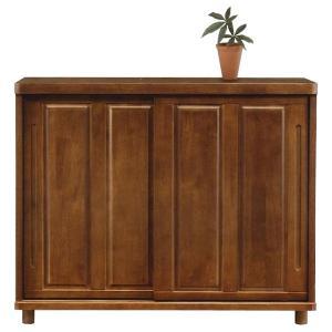 完成品の120cm幅引き戸シューズボックスです。  材質:天然木ラバーウッド材 塗装仕上げ  SIZ...