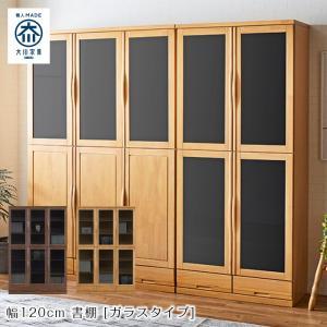 本棚 書棚 ブックシェルフ 日本製 国産 大川家具 ロッジ 120 書棚 (ガラス)|kagunoroomkoubou