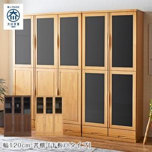 本棚 書棚 ブックシェルフ 日本製 国産 大川家具 ロッジ 120 書棚 (下板戸)|kagunoroomkoubou