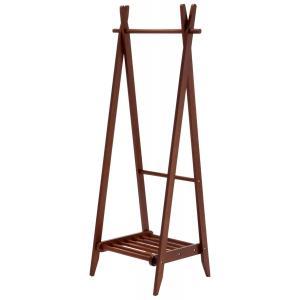 折りたたみハンガー 棚付き ダークブラウン 収納棚付き 洋服掛け コートハンガー 天然木 木製|kagunoroomkoubou