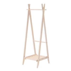 折りたたみハンガー 棚付き ホワイト 収納棚付き 洋服掛け コートハンガー 天然木 木製|kagunoroomkoubou