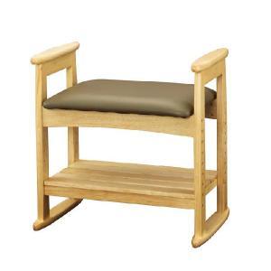ベンチ チェアー 椅子 イス 肘付スツールナチュラル W-5H(NA)|kagunoroomkoubou