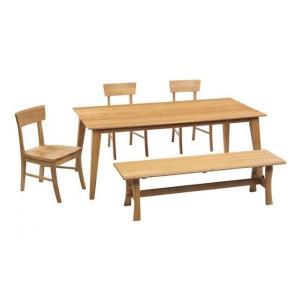 ダイニングテーブルセット 5点 シエスタ 180テーブル 150ベンチ チェア3脚|kagunoroomkoubou
