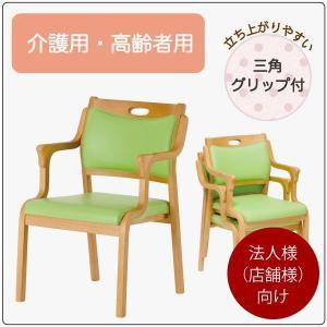ダイニングチェア Care-AC-101-IN 2脚セット 介護椅子 高齢者向け 肘付き イス いす 三角グリップ付き 法人様(店舗様)向け kagunoroomkoubou