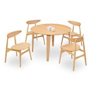 ダイニングテーブルセット 5点 マルティNA ナチュラルオーク (110丸ダイニングテーブル+チェアー4脚) 座面板座|kagunoroomkoubou